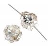 Rhinestone Bead 6mm Round Large Stones Silver/Crystal